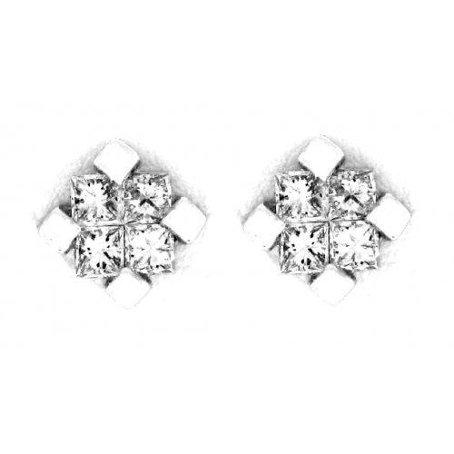 14kt White Gold Invisible Set Princess Cut Diamond Stud Earrings 0 76cts Tw