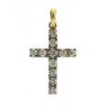 18Kt Yellow Gold Prong Set Diamond Cross Pendant (0.56cts tw)