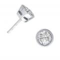 14Kt White Gold Bezel Set Round Diamond Stud Earrings (1.12cts tw)