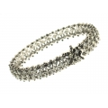 18Kt White Gold Three Row Diamonds Bracelet  (9.95cts)