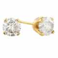 14Kt Yellow Gold Round Diamond Stud Earrings (1.10cts tw)