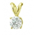 14Kt Yellow Gold Round Solitaire Diamond Pendant (0.50cts tw)