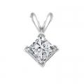 14Kt White Gold Princess Cut Diamond Pendant (0.52cts tw)