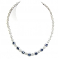 18Kt White Gold Blue Sapphire and Diamond Station Necklace (22.94cts tw)