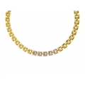 14Kt Yellow Gold Diamond Three Row Panther Necklace (0.38cts tw)