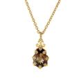18Kt Yellow Gold Crown Design Smokey Quartz & Diamond Necklace (7.00cts tw)