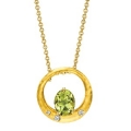 18Kt Yellow Gold Oval Shape Lime Quartz & Diamond Round Necklace (1.85cts tw)