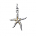 18Kt Yellow Gold and Sterling Silver Diamond  Sea Star Pendant (0.02cts tw)