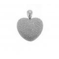 18Kt White Gold  Pavé Diamond Puffed Heart Pendant (6.29cts tw)