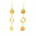 14Kt Yellow Gold Satin & Shiny Circle Dangle Earrings  (4.50gr)